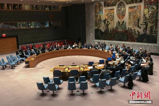 资料图:2016年,联合国安理会在纽约联合国总部一致通过决议,要求朝鲜放弃核武器和导弹计划,并决定对朝鲜实施新制裁措施。图为会议现场。<a target='_blank' href='http://www.chinanews.com/'>中新社</a>记者 廖攀 摄