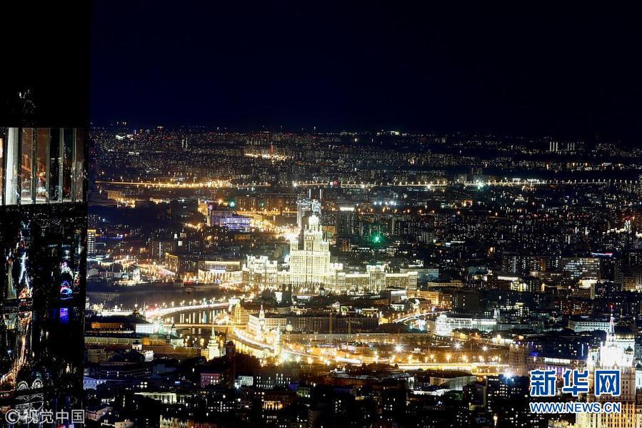 俯瞰莫斯科夜景灯光璀璨 华丽大都市尽收眼底图片